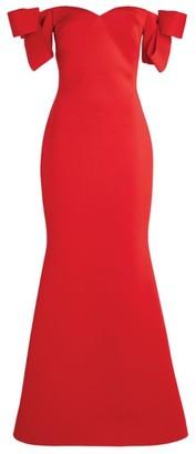 Badgley Mischka Off-The-Shoulder Scuba Gown