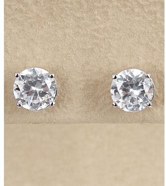 Dillard's sterling collection 7mm cz earrings