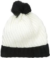 Nine West Women's Diagonal Knit Cuffed Pom Beanie