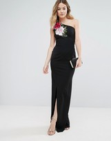 Jessica Wright One Shoulder Maxi Dress With Side Split And Floral Applique