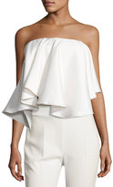 SOLACE London Laurel Strapless Satin Twill Top, White