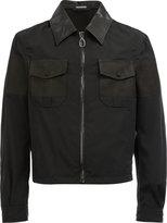Lanvin cropped zip front shirt jacket - men - Cotton/Calf Leather/Virgin Wool - 48