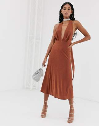 Asos Design 70's plunge sparkly halter tie midi dress-Orange