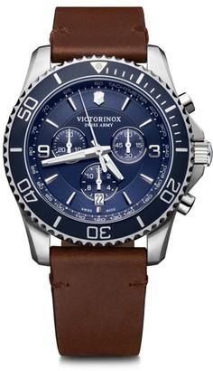 Victorinox Maverick Chronograph Stainless Steel & Leather Strap Watch
