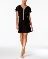 MSK Petite Embellished Flutter-Sleeve Dress