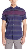 Calvin Klein Men's Short-Sleeve Yarn Dye Wide Horizontal Shirt