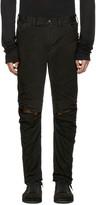 Julius Black Coated Slit Knees Jeans