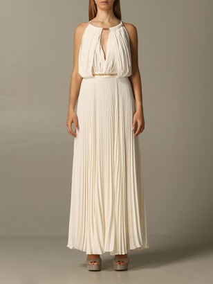 Hanita Long Dress With Pleated American Neckline