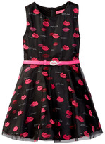 Betsey Johnson Mesh Overlay Sateen Lip Dress (Little Girls)