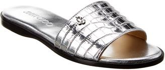 Jimmy Choo Minea Croc-Embossed Metallic Leather Sandal