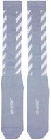 Off-White Blue Glitter Diagonal Socks