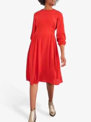 White Stuff Jennie Pleated Waist Midi Dress, Bright Red