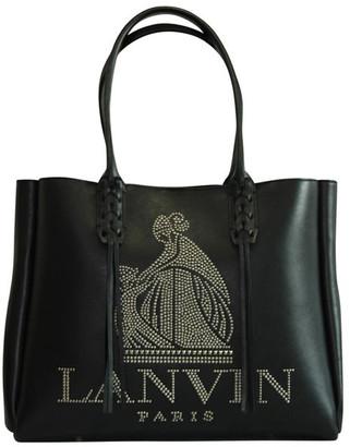 Lanvin Black Leather Shopper Tote