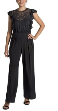 Julia Jordan Lace-Illusion Jumpsuit