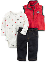 Carter's 3-Pc. Vest, Football-Print Bodysuit & Jeans Set, Baby Boys (0-24 months)