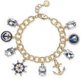 Charter Club Gold-Tone Crystal Nautical Charm Bracelet, Created for Macy's