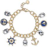 Charter Club Gold-Tone Crystal Nautical Charm Bracelet, Created for Macy's