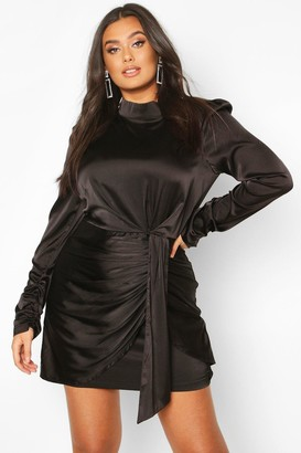 boohoo Plus High Neck Ruched Detail Satin Mini Dress