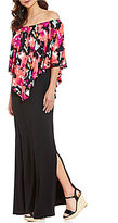 Chelsea & Theodore Popover Floral Off the Shoulder Maxi Dress