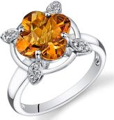 Ice 2 3/4 CT TW Citrine 14K White Gold Fashion Ring with Diamond Accents