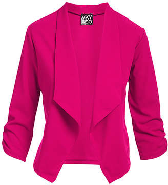 Vky & Co VKY & CO Women's Blazers FUSCHIA - Fuschia Crepe-Knit Three Quarter-Sleeve Open-Front Blazer - Women & Plus