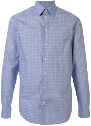 Emporio Armani Check Print Curved Hem Shirt