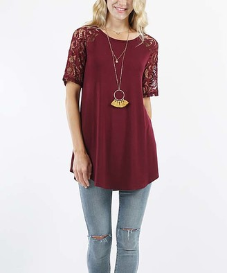 Lydiane Women's Tunics DK - Dark Burgundy Crewneck Lace-Sleeve Curved-Hem Tunic - Women