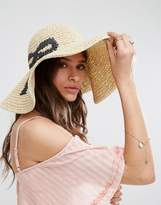 Asos Oversized Straw Floppy Hat With Bow Design