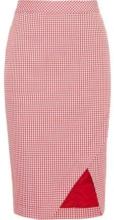 Altuzarra Wilcox Gingham Cotton-Blend Wrap-Effect Skirt