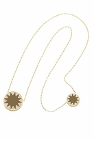 House Of Harlow Sunburst Stations Necklace With Khaki Leather and Pave in Gold
