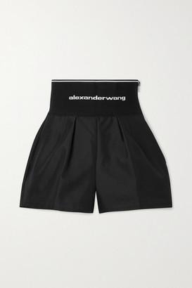 Alexander Wang - Safari Cotton-blend Twill And Stretch-jacquard Shorts - Black