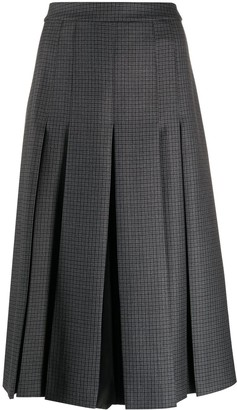 Maison Margiela Contrast-Panel Pleated Midi-Skirt