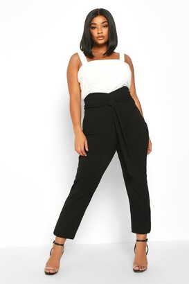 boohoo Plus Wrap High Waisted Tie Front Trouser