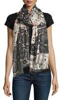 Burberry Lace Patchwork Gauze Scarf, Stone/Black
