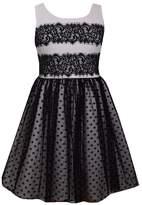 Bonnie Jean Girls 7-16 & Plus Size Lace & Flocked Dot Mesh Scuba Dress