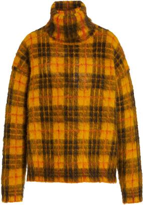 Monse Tartan Mohair-Blend Turtleneck Sweater