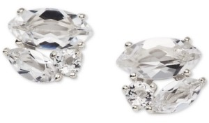 AVA NADRI Silver-Tone Crystal Cluster Stud Earrings