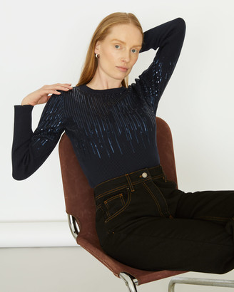 Jigsaw Graduated Sequin Long Sleeve Crew Top