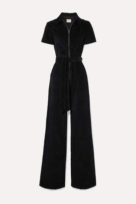 Alice + Olivia Alice Olivia - Gorgeous Belted Cotton-blend Corduroy Jumpsuit - Black
