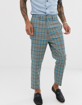 Asos Design DESIGN tapered suit pants with color pop check-Gray