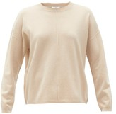 Allude Round-neck Wool-blend Sweater - Womens - Beige