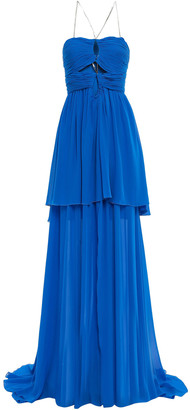 Dundas Cutout Ruched Silk-georgette Gown