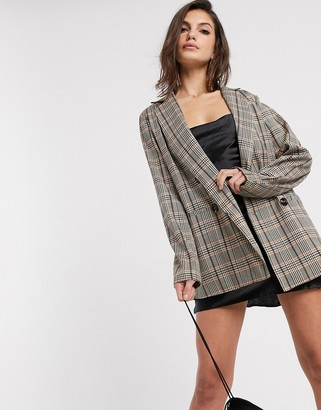 Vila double breasted blazer in brown check