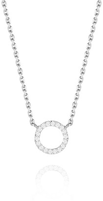 Perle de Lune Halo Diamond Necklace - 18K White Gold