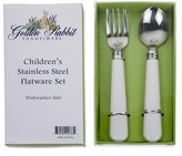 Golden Rabbit Child Fork & Spoon Set