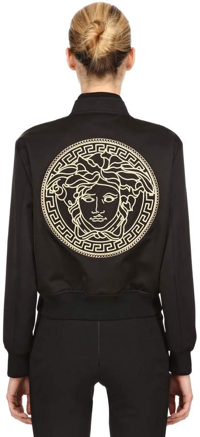 Versace Lurex Medusa Embroidered Satin Jacket