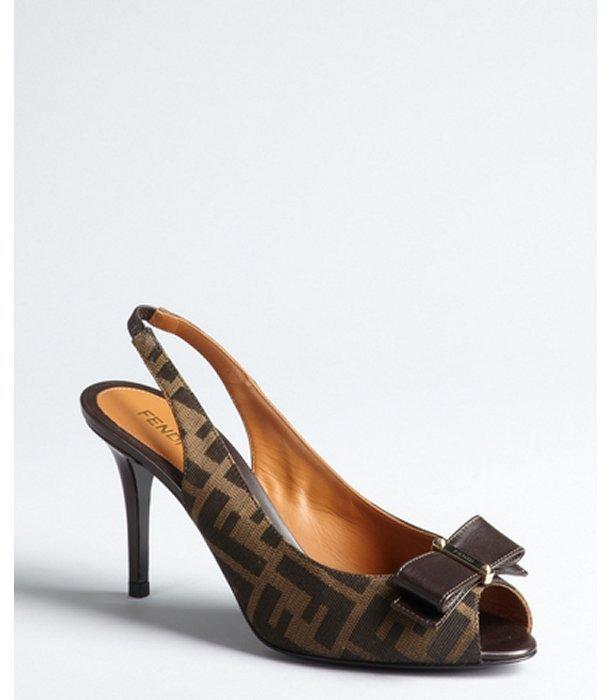 Fendi dark brown zucca canvas bow peep toe slingback sandals
