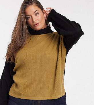 Unique21 Hero colour block high neck top in black & camel