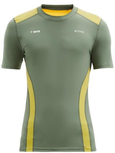 7 DAYS ACTIVE Panelled Short-sleeve Technical T-shirt - Green