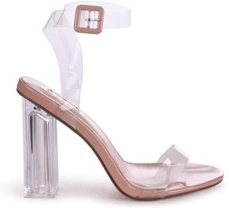 Linzi JOSLIN - Nude All Over Perspex Heel With Glass Block Heel